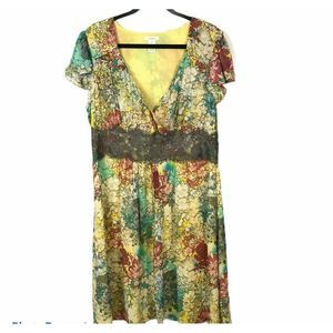 Sundance Lace Floral Silk Wrap Dress Size 14